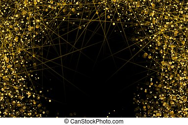 Gold glitter texture on a black background. Holiday background. Golden explosion of confetti. Golden grainy abstract texture on a black background. Design element. Vector illustration.