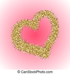 Gold glitter Valentines Day heart on red gradient...
