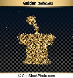 Gold glitter vector icon