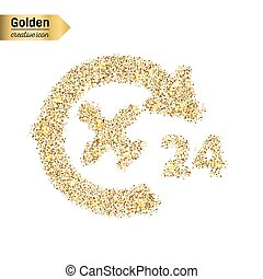Gold glitter vector icon of airplane isolated on background. Art creative concept illustration for web, glow light confetti, bright sequins, sparkle tinsel, bling logo, shimmer dust, foil.