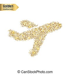 Gold glitter vector icon of airplane isolated on background. Art creative concept illustration for web, glow light confetti, bright sequins, sparkle tinsel, abstract bling, shimmer dust, foil.