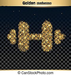 Gold glitter vector icon of barbell isolated on background....