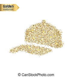 Gold glitter vector icon of baseball cap isolated on background. Art creative concept illustration for web, glow light confetti, bright sequins, sparkle tinsel, abstract bling, shimmer dust, foil.