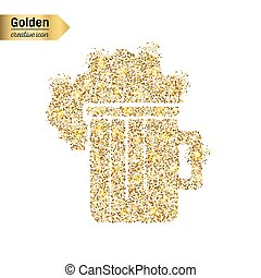 Gold glitter vector icon of beer isolated on background. Art...