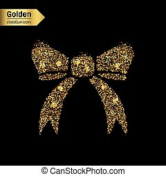 Gold glitter vector icon of bow tie isolated on background....