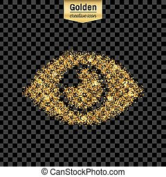 Gold glitter vector icon of eye isolated on background. Art creative concept illustration for web, glow light confetti, bright sequins, sparkle tinsel, abstract bling, shimmer dust, foil.