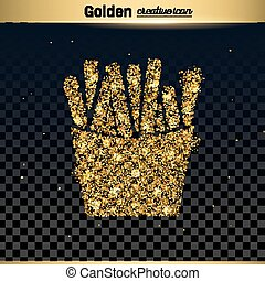 Gold glitter vector icon of French fries isolated on...