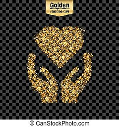Gold glitter vector icon of heart in hand isolated on background. Art creative concept illustration for web, glow light confetti, bright sequins, sparkle tinsel, bling logo, shimmer dust, foil.
