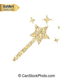 Gold glitter vector icon of magic wand isolated on...