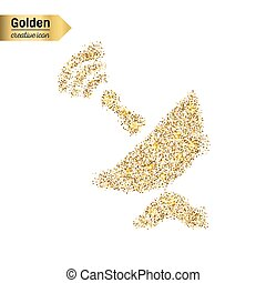 Gold glitter vector icon of satellite dish isolated on...