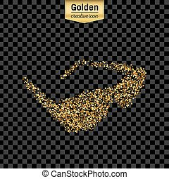 Gold glitter vector icon of sun glasses isolated on background. Art creative concept illustration for web, glow light confetti, bright sequins, sparkle tinsel, abstract bling, shimmer dust, foil