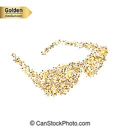 Gold glitter vector icon of sun glasses isolated on background. Art creative concept illustration for web, glow light confetti, bright sequins, sparkle tinsel, abstract bling, shimmer dust, foil.