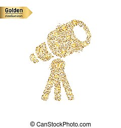 Gold glitter vector icon of telescope isolated on...