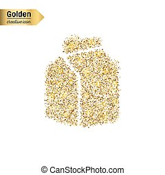 Gold glitter vector icon of the milk carton isolated on...