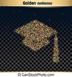 Gold glitter vector icon of square academic cap isolated on...