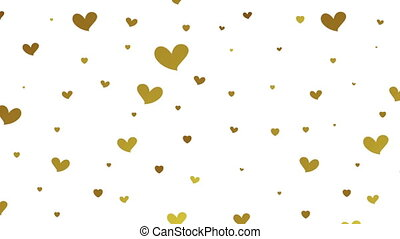 Gold glitter video animation with hearts