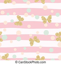 Gold glittering butterflies confetti seamless pattern on...