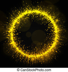 Gold glittering dust trail background. For your design