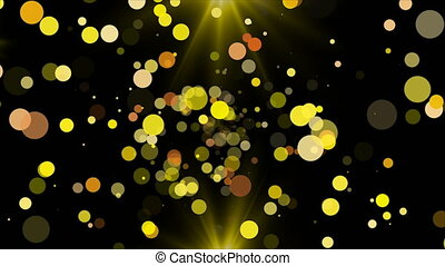 Gold glittering particles and flash light, celebratory 3d...