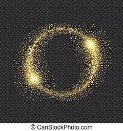 Gold glittering star dust circle on black background