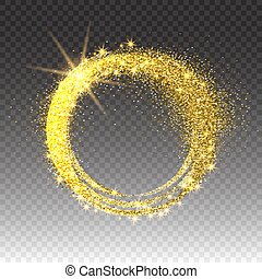 Gold glittering star dust circles. Twinkling ellipse on checkered background, vector illustration