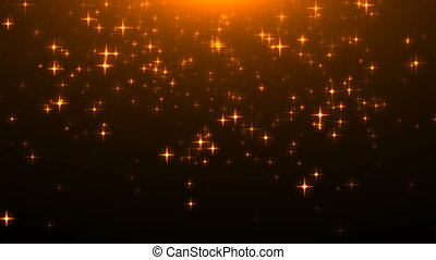 Gold glittering stars on black, many particles, celebratory 3d rendering background