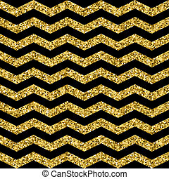 Gold glittering zigzag seamless pattern. Gold and black wave...