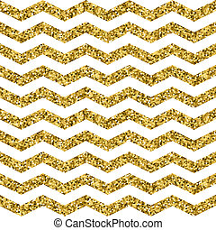 Gold glittering zigzag seamless pattern. Gold and white wave...