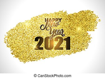 gold glittery happy new year design 2910