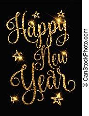 Gold glittery Happy New Year design