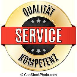 gold glnzendes rundes siegel  qualitt service kompetenz