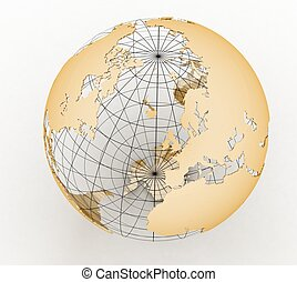 Gold globe art on the white background