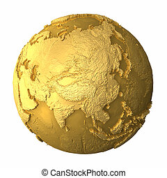 Gold Globe - Asia - Gold globe - metal earth with realistic...