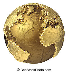 Gold Globe Atlantic Ocean
