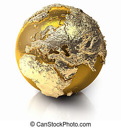Gold Globe - Europe - Gold globe with realistic topography...