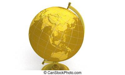 Gold globe spins, pin Los Angeles