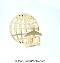 Gold Globe with flying plane icon isolated on white background. Airplane fly around the planet earth. Aircraft world icon. 3d illustration 3D render