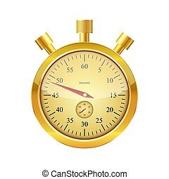 Gold glossy stopwatch. Vector illustration.