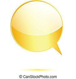 Gold glossy word speech