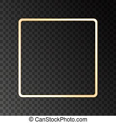 Gold glowing frame with light  effects isolated on  transparent background.