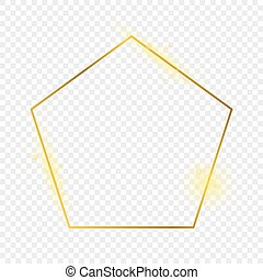 Gold glowing pentagon shape frame isolated on transparent ...