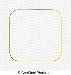 Gold glowing rounded square frame isolated on transparent background. Shiny frame with glowing effects. Vector illustration.
