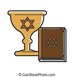 Gold goblet and holy book with David stars - Gold goblet and...