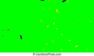 Gold golden confetti in modern style on green. Birthday celebration. Light effect. Yellow paper. 4k
