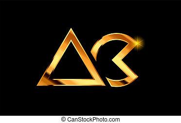 gold golden metal alphabet letter logo combination ac a c design