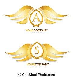 Gold golden wings logo icon set
