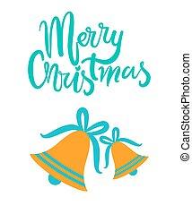 gold, gruß, fröhlich, jingle, weihnachtskarte, glocken