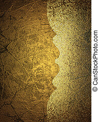 Gold grunge background with a frayed edge. Design template