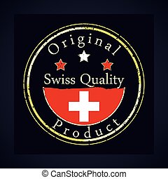 Gold grunge rubber stamp with the text swiss quality, label original product and swiss flag.