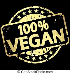 gold grunge stamp with Banner 100% vegan